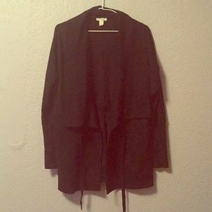 Black sweat tie in the front big collar cardigan